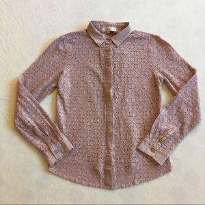 Ann Taylor Loft mauve pink floral crochet blouse